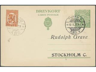 Finland. Facit 116C2 cover , 1925 Lion Type, Wmk Swastika 1 Mk orange, perf 14¼ × 14¾, …