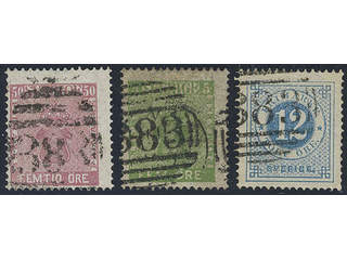 "Sweden. Facit 7, 12, 21. Three copies with British cancellation ""383"" Hull."