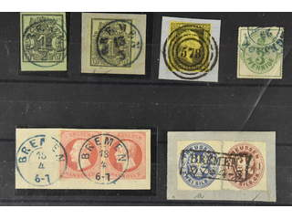 Germany Hanover. Lot used on stock card. Beautiful assemble of six stamps incl. one cut …