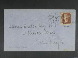 Britain. Michel 16 cover , 1864 Queen Victoria, with corner letters 1 d rose-red  (plate …