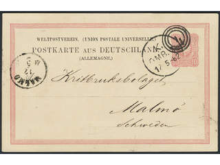 Germany Reich. Postal stationeryPostcard 10 pf sent to Sweden. Only cancelled with …