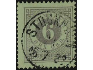 Sweden. Facit 31e used , 6 öre greyish lilac. Superb cancellation STOCKHOLM 21.7.1883.