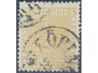 Sweden. Facit 4g used , 8 skill orange-yellow, blurred print on medium thick paper. …