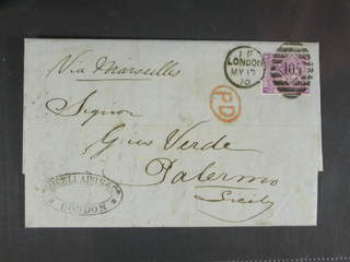 Britain. Michel 30 cover , 1869 Queen Victoria 6 d lilac, without hyphen, watermark …