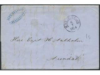Denmark. Prephilately. Folded letter sent from HELSINGØR 6.7.1864 to Arendal. Transit …