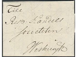 "Sweden. Prephilately. Letter dated ""Stockholm d. 30 may 1749"" sent to Westervik."