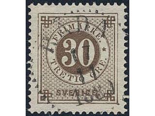 Sweden. Facit 47 used , 30 öre brown. Superb cancellation RÅDA 17.11.1889.