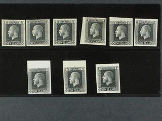 New Zealand. Michel 137 etc. (★) , George V black proofs on thin paper with wmk NZ. 1½d, …