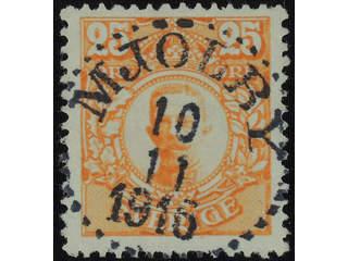 Sweden. Facit 86 used , 25 öre orange. EXCELLENT cancellation MJÖLBY 10.11.1916. …