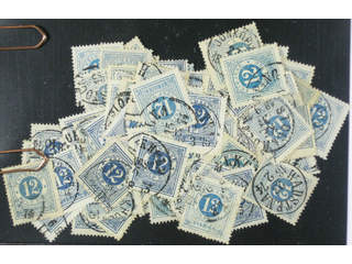 Sweden. Facit 21 used , 12 öre blue, one hundred used copies. Shades, varieties, …