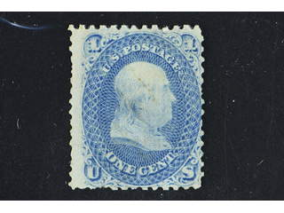 U.S.A. Michel 16W (★) , 1867 Presidents 1 c pale blue with grill 9 x 13 mm. No gum and …