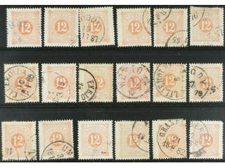 Sweden. Postage due Facit L5 used , 12 öre red, perf 14, eighteen used copies. Shades, …
