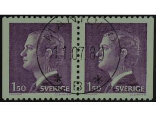 Sweden. Facit 1130BB used , 1980 Carl XVI Gustaf, type 1 1.50 Kr violet, pair. EXCELLENT …