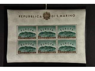 San Marino. Michel 700ms ★★ , 1961 Europa CEPT minisheet à 6 stamps. EUR200