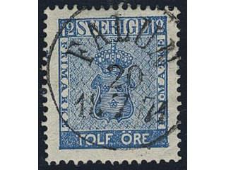 Sweden. Facit 9d3 used , 12 öre light blue, perforation of 1865. EXCELLENT cancellation …