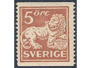 Sweden. Facit 142Ecc ★★ , 5 öre brown-red, type II, perf 13 with inverted wmk lines.