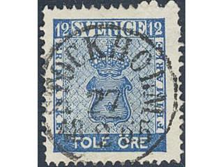 Sweden. Facit 9c2 used , 12 öre blue. EXCELLENT cancellation STOCKHOLM 27.2.1865.
