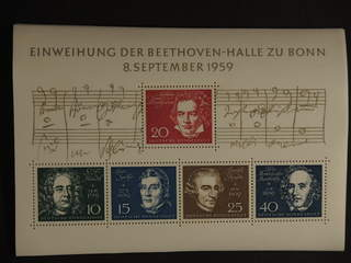 Germany GFR (BRD). Michel 315–19 ★★ , 1959 Beethoven Hall souvenir sheet 2, ten copies. …