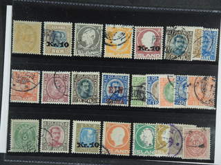 Iceland. Used 1876–1937. All different, e.g. F 8, 107v, 111, 113, 122v, 137, 143, 154, …