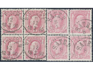 Sweden. Facit 45 used , 10 öre in two blocks of four, cancelled SÄTER 8.1.1887 and …