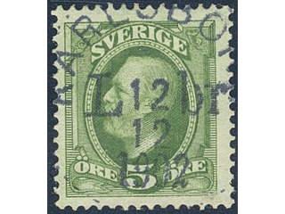 Sweden. Facit 52 used , 1891 Oscar II 5 öre green. EXCELLENT cancellation KARLSBORG LBR …