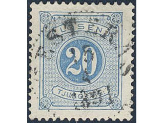 Sweden. Postage due Facit L16d used , 20 öre ultramarinish blue, perf 13. EXCELLENT …