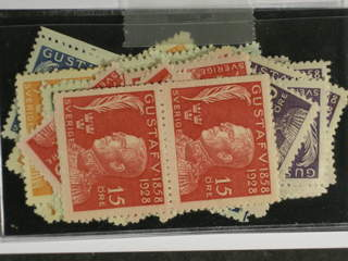 Sweden. ★ 1928. 1928 GV 70 years. 13 sets and also with sheets of four. Mostly good …