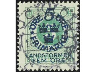 Sweden. Facit 108 used , 1916 Landstorm I 5+FEM / 5 öre  green. EXCELLENT cancellation …