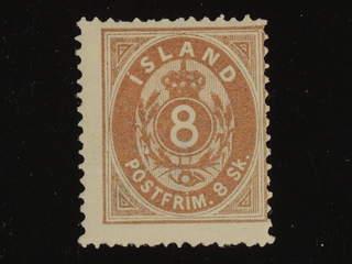 Iceland. Facit 3 ★ , 1873 Skilding values 8 sk brown, perf 14 × 13½. SEK2800