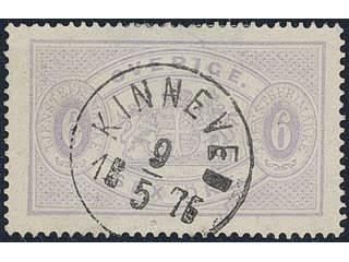 Sweden. Official Facit Tj4 used , 6 öre violet, perf 14. Superb cancellation KINNEVED …