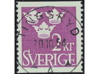 Sweden. Facit 308 used , 1952 Three Crowns 2 Kr red-violet. EXCELLENT cancellation …