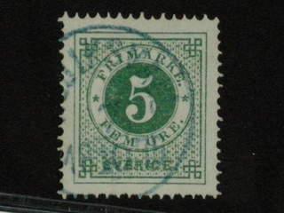 Sweden. Facit 19h used , 5 öre matt blåaktigt grön, oren färg. Vackert ex med blå …