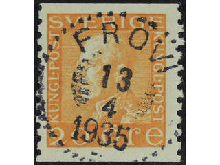 Sweden. Facit 181 used , 20 öre orange. EXCELLENT cancellation FRÖVI 13.4.1935. Two …