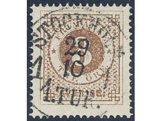 Sweden. Facit 17c used , 3 öre dark orange-brown on white paper. EXCELLENT cancellation …