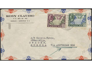 Curaçao. Michel 183, 188 cover , franked with Air mail 10 and 35 c sent to Sweden via …