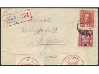 Austria. Michel 188, 190 cover , 10+15 h on censored cover sent from GRAZ 28.VI.17 to …