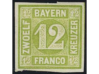 Germany Bavaria. Michel 12 or Scott 13 (★) , 1862 Numerals 12 Kr yellow-green. EUR120