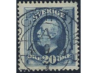 Sweden. Facit 66 used , 1911 Oscar II, copperplate without vmk 20 öre blue. Superb …