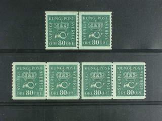 Sweden. Facit 165c ★★/★ , 80 öre dark blue-green on soft paper in one pair and one strip …