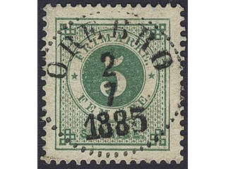 Sweden. Facit 30k used , 5 öre dark green. EXCELLENT cancellation ÖREBRO 2.7.1885.