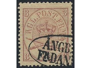 """Sweden. Facit 12. Very clear part of """"ÅNGB BREF FR DANMARK"""" (Ship letter from Denmark) …"""