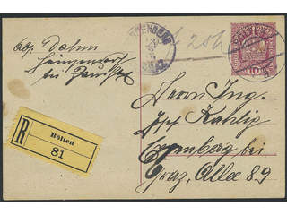 Austria. Postal stationeryPostal stationery card 10 h sent registered from BÖLTEN …