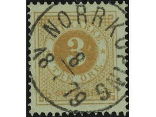 Sweden. Facit 28d used , 3 öre yellow-brown. Superb cancellation NORRKÖPING 8.7.1879.