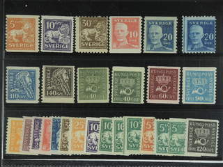 Sweden. ★ 1920-34. Small coil stamps, All different, e.g. F 141, 145E, 148C, 149A, …