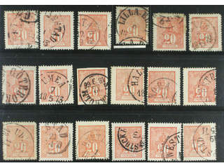 Sweden. Facit 16 used , 20 öre red, eighteen used copies. Shades, varieties, …