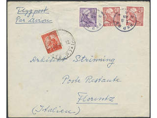 Sweden. Air mail cover Facit 273A, 276B , 10+2x20 öre on air mail cover sent from PKP 85 …
