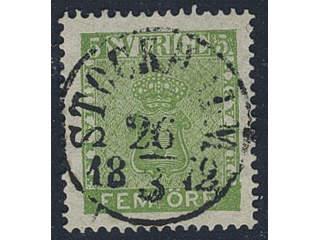 Sweden. Facit 7c2 used , 5 öre yellow-green. Superb copy cancelled STOCKHOLM 26.3.1872. …