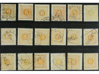 Sweden. Postage due Facit L14 used , 6 öre yellow, perf 13, seventeen used copies and …