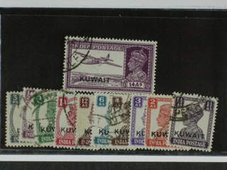 Kuwait. Michel 52–63 used , 1945 Overprint on George VI short SET (11). Missing 4 and 8a.