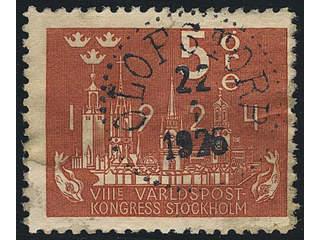 Sweden. Facit 196 used , 5 öre brunröd. Prakt-/lyxstämpel Olofstorp (O-län) 22.1.1926.